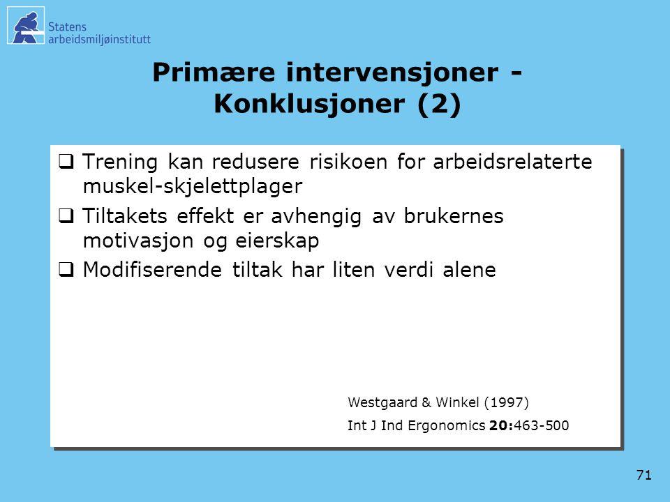 Primære intervensjoner -Konklusjoner (2)