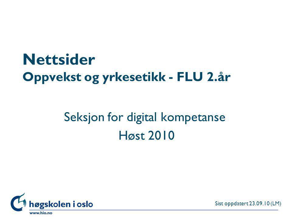 Nettsider Oppvekst og yrkesetikk - FLU 2.år
