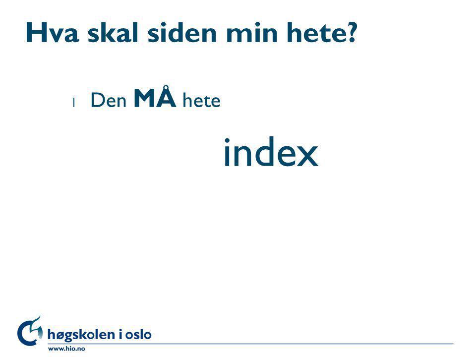 Hva skal siden min hete Den MÅ hete index