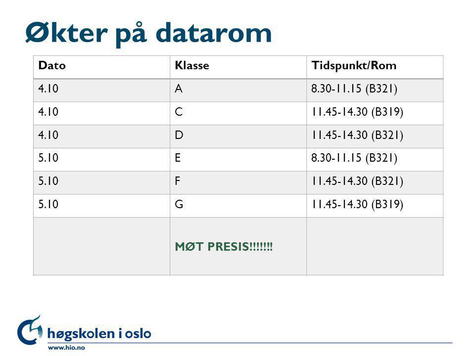 Økter på datarom Dato Klasse Tidspunkt/Rom 4.10 A 8.30-11.15 (B321) C