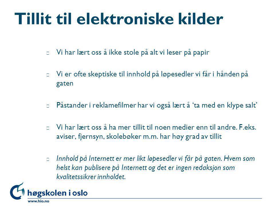 Tillit til elektroniske kilder