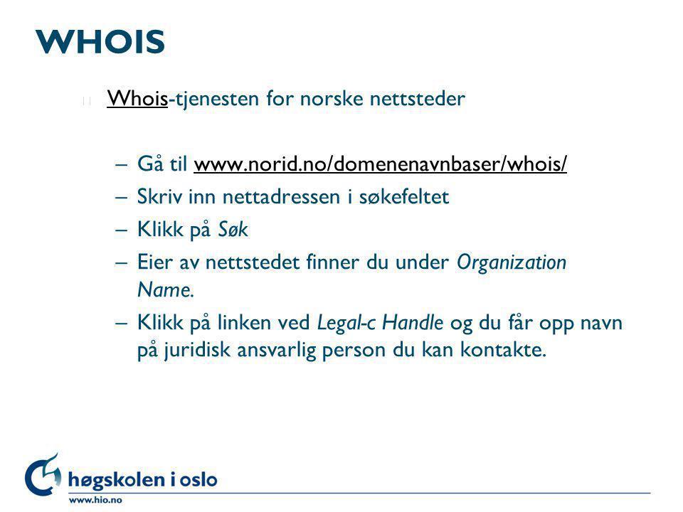 WHOIS Whois-tjenesten for norske nettsteder