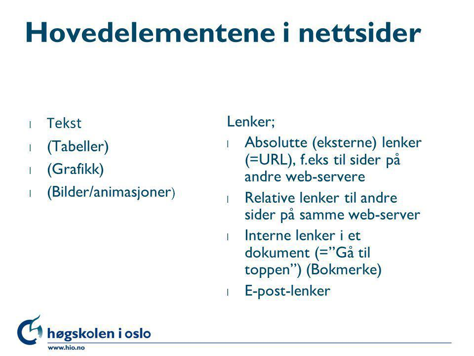 Hovedelementene i nettsider
