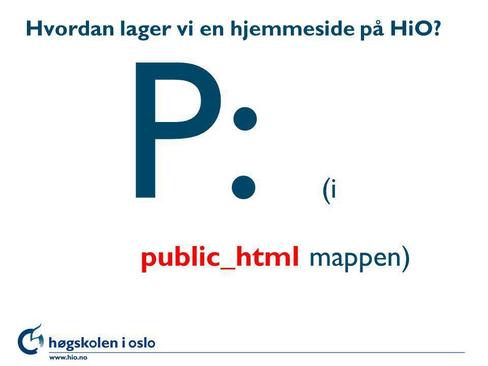 Hvordan lager vi en hjemmeside på HiO
