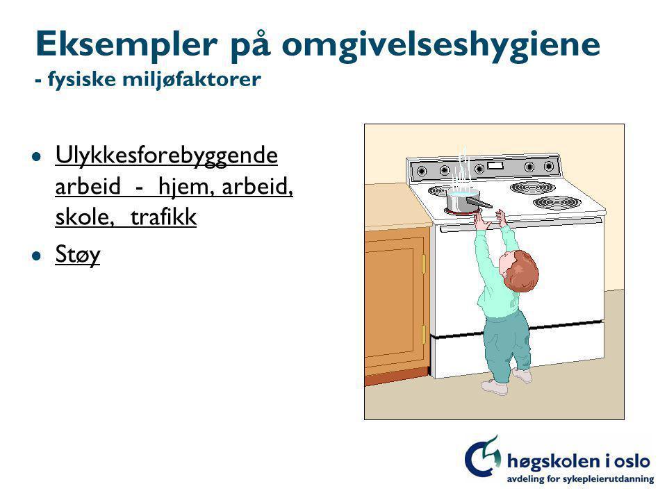 Eksempler på omgivelseshygiene - fysiske miljøfaktorer