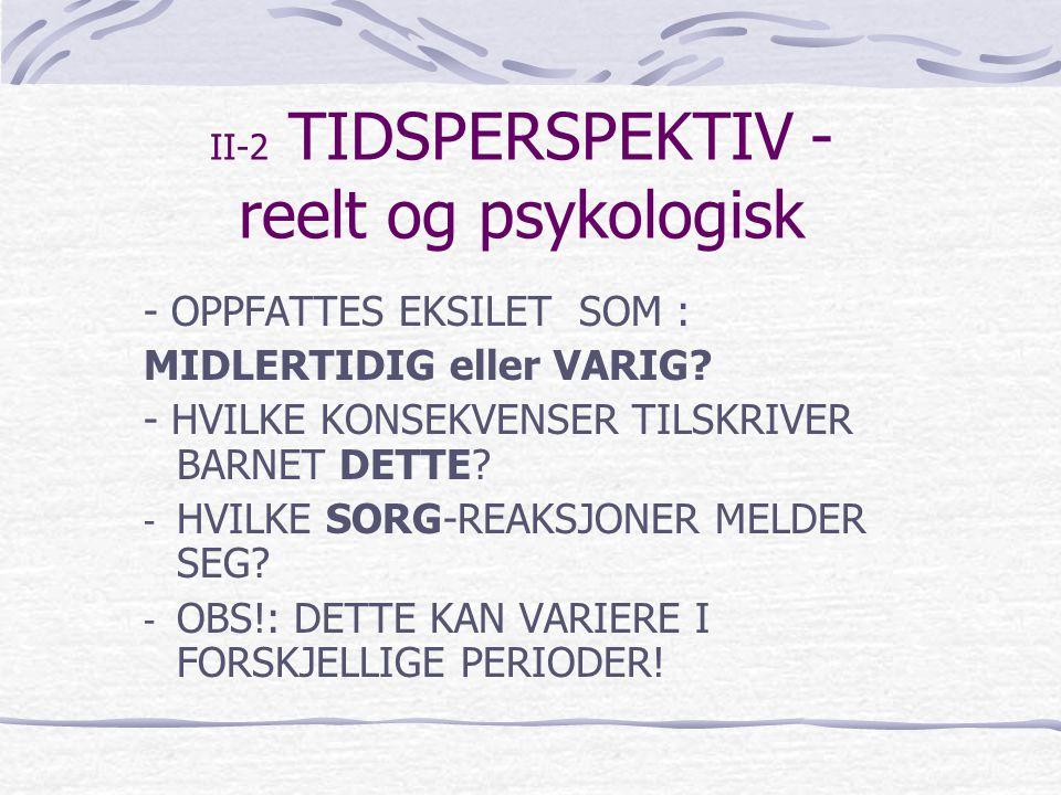 II-2 TIDSPERSPEKTIV - reelt og psykologisk