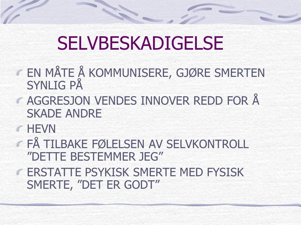 SELVBESKADIGELSE EN MÅTE Å KOMMUNISERE, GJØRE SMERTEN SYNLIG PÅ