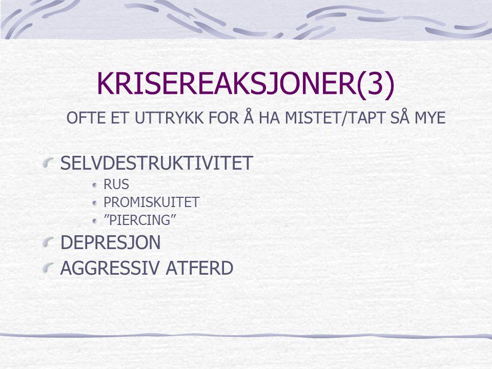 KRISEREAKSJONER(3) SELVDESTRUKTIVITET DEPRESJON AGGRESSIV ATFERD