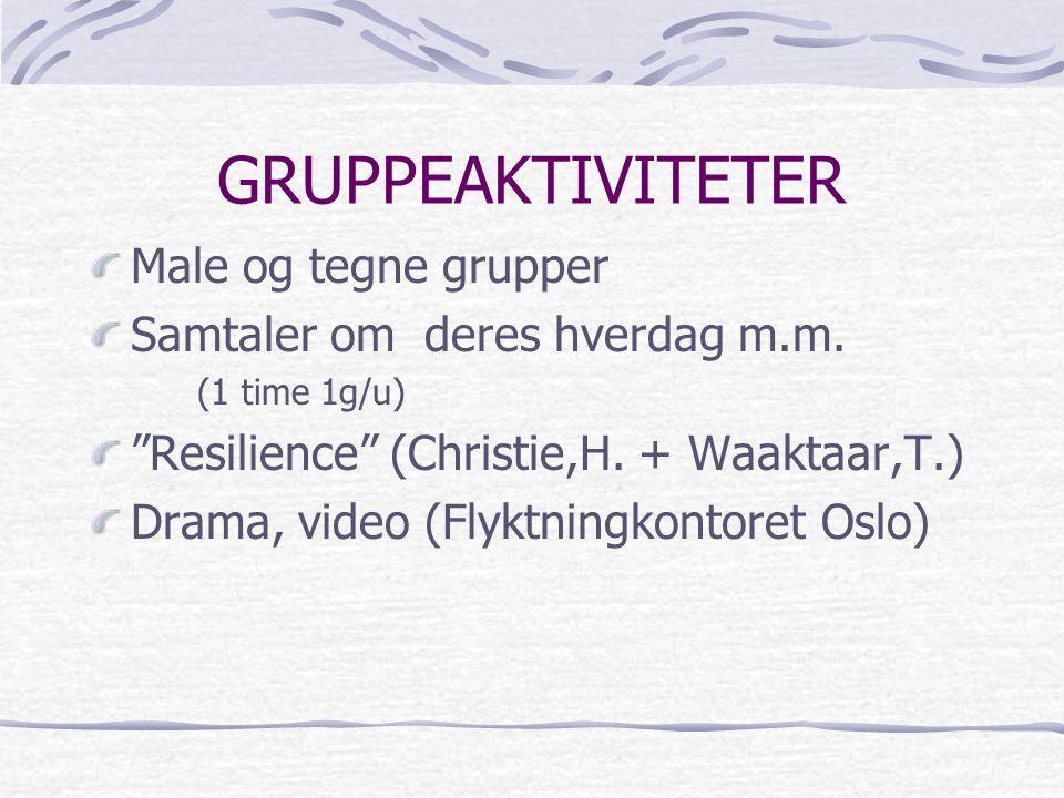 GRUPPEAKTIVITETER Male og tegne grupper Samtaler om deres hverdag m.m.