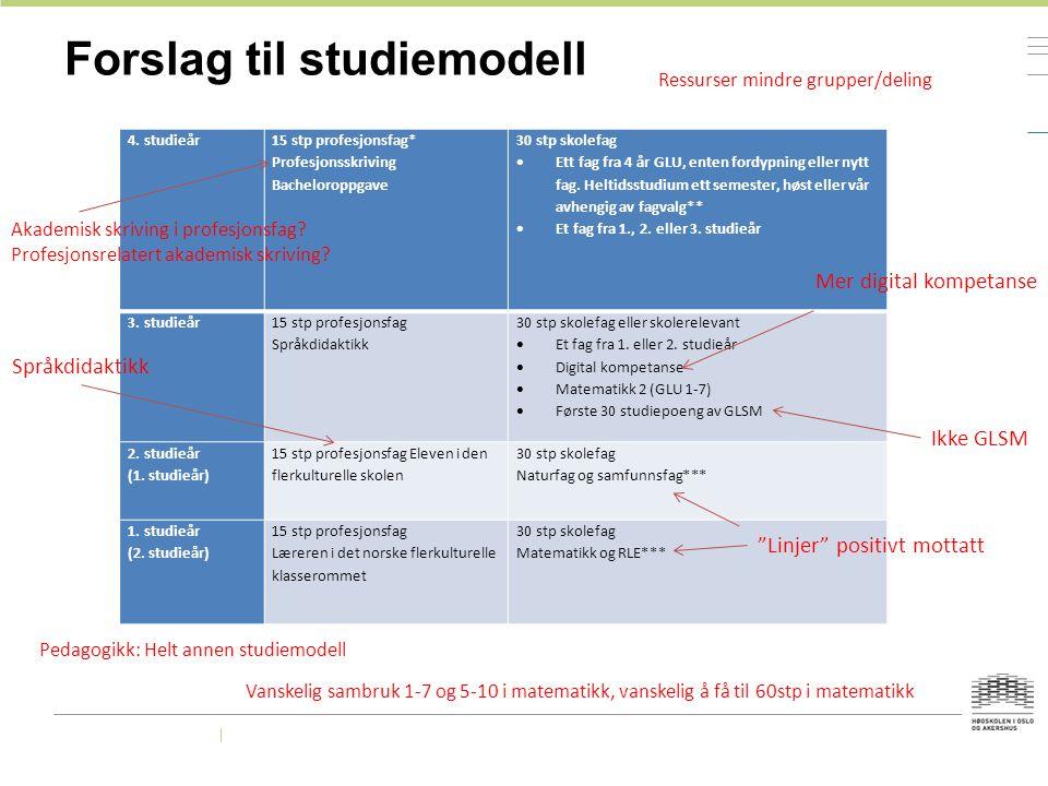 Forslag til studiemodell