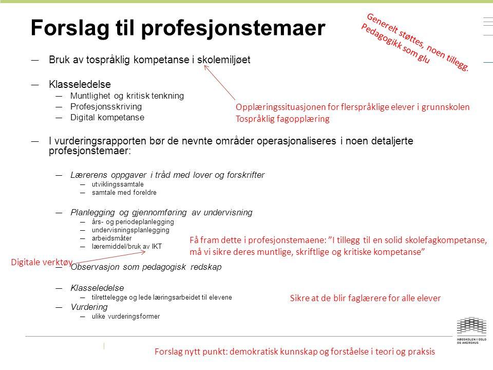 Forslag til profesjonstemaer