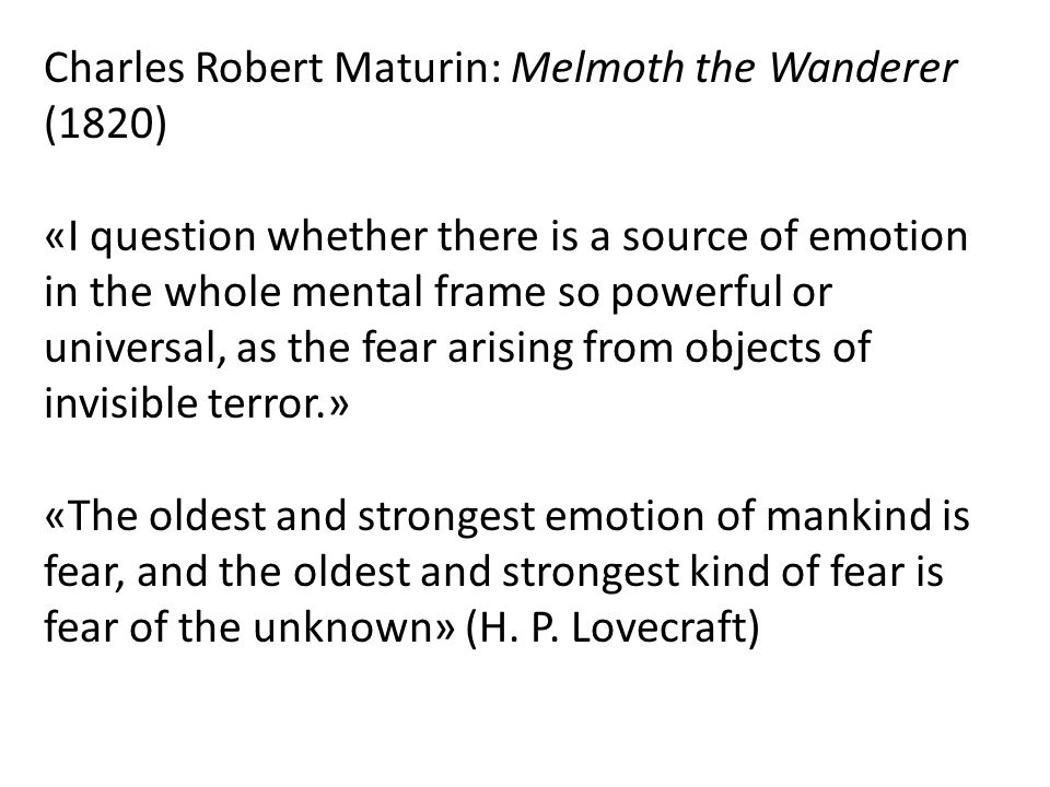 Charles Robert Maturin: Melmoth the Wanderer (1820)