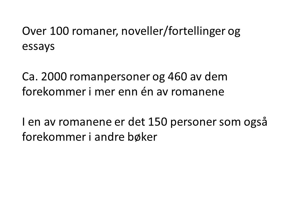 Over 100 romaner, noveller/fortellinger og essays