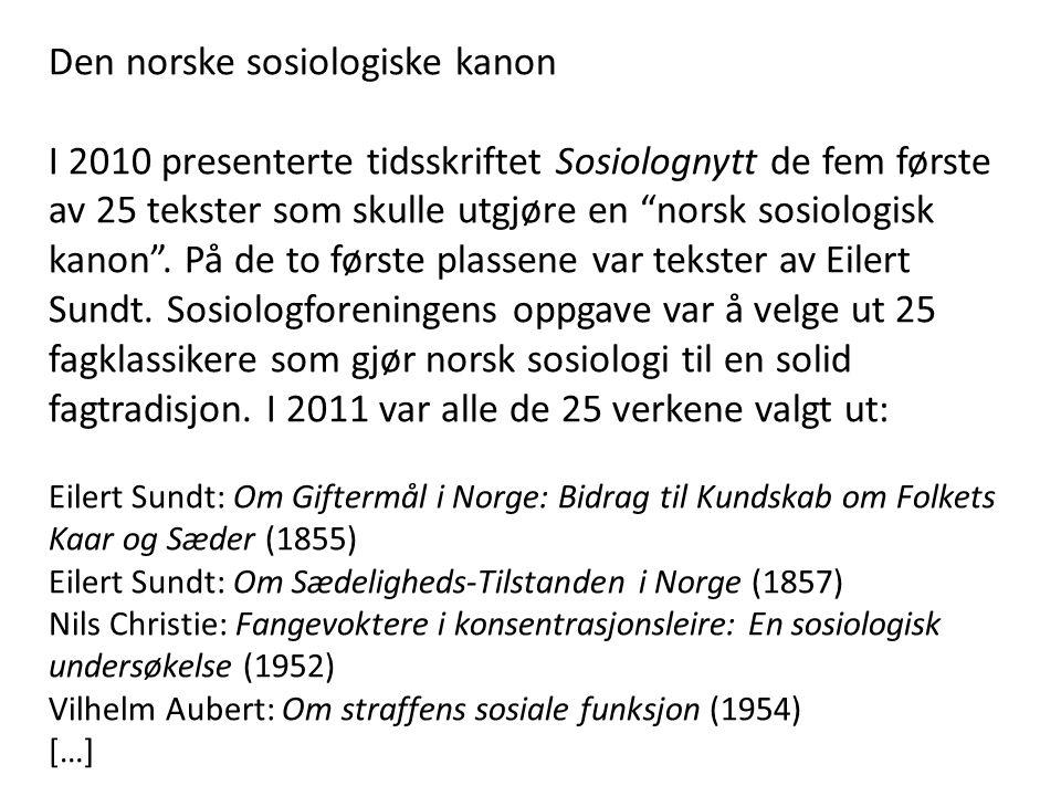 Den norske sosiologiske kanon