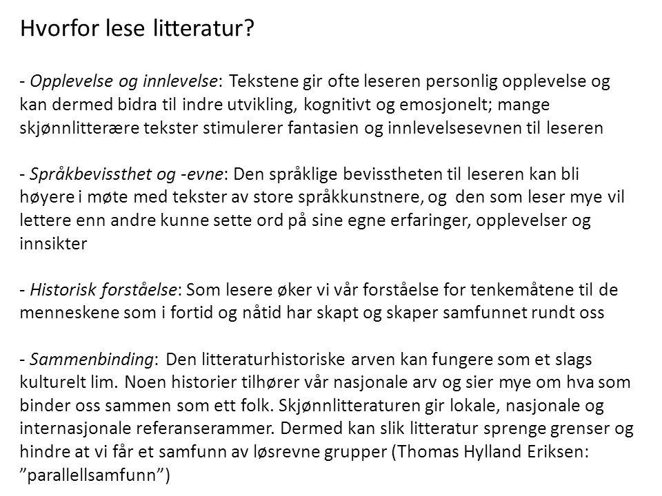 Hvorfor lese litteratur
