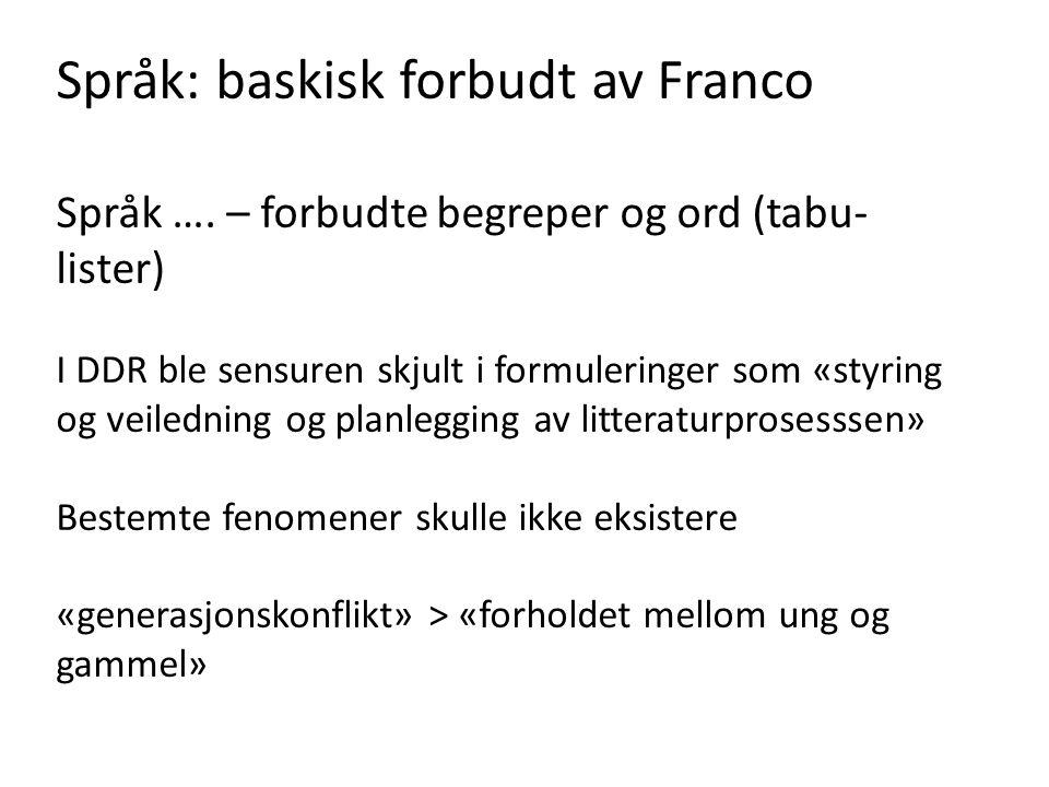 Språk: baskisk forbudt av Franco