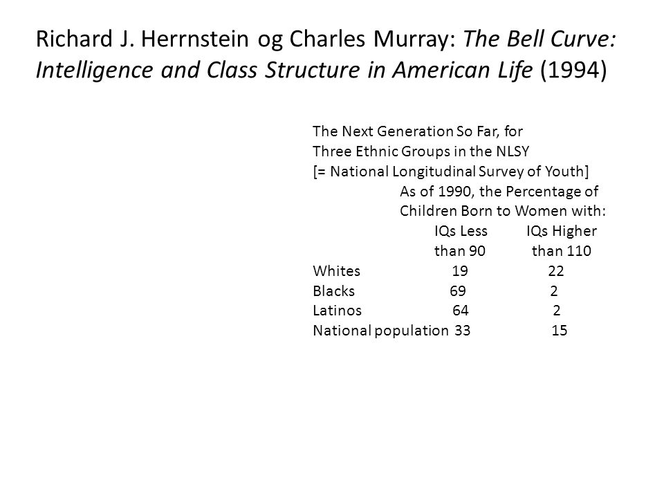 Richard J. Herrnstein og Charles Murray: The Bell Curve: Intelligence and Class Structure in American Life (1994)