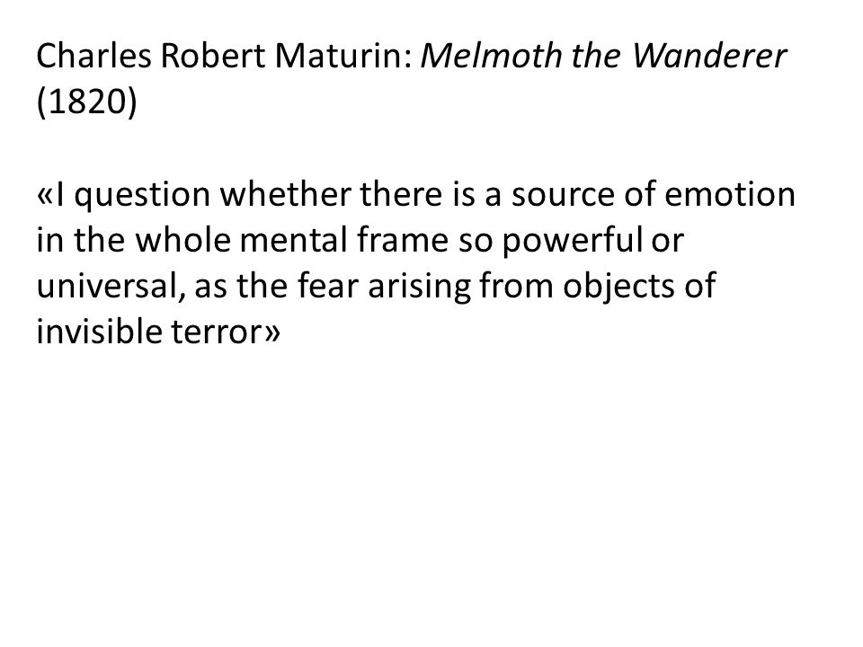 Charles Robert Maturin: Melmoth the Wanderer (1820)