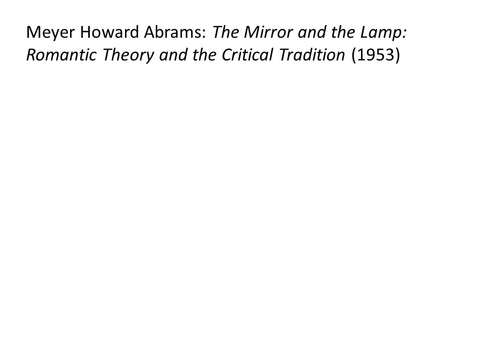 Meyer Howard Abrams: The Mirror and the Lamp: Romantic Theory and the Critical Tradition (1953)