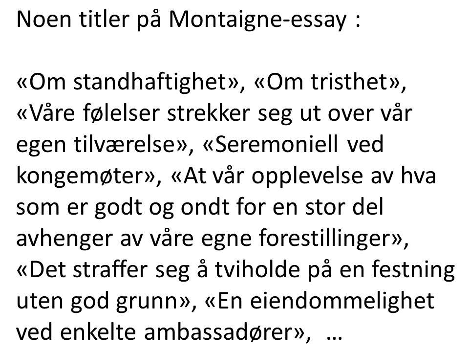 Noen titler på Montaigne-essay :