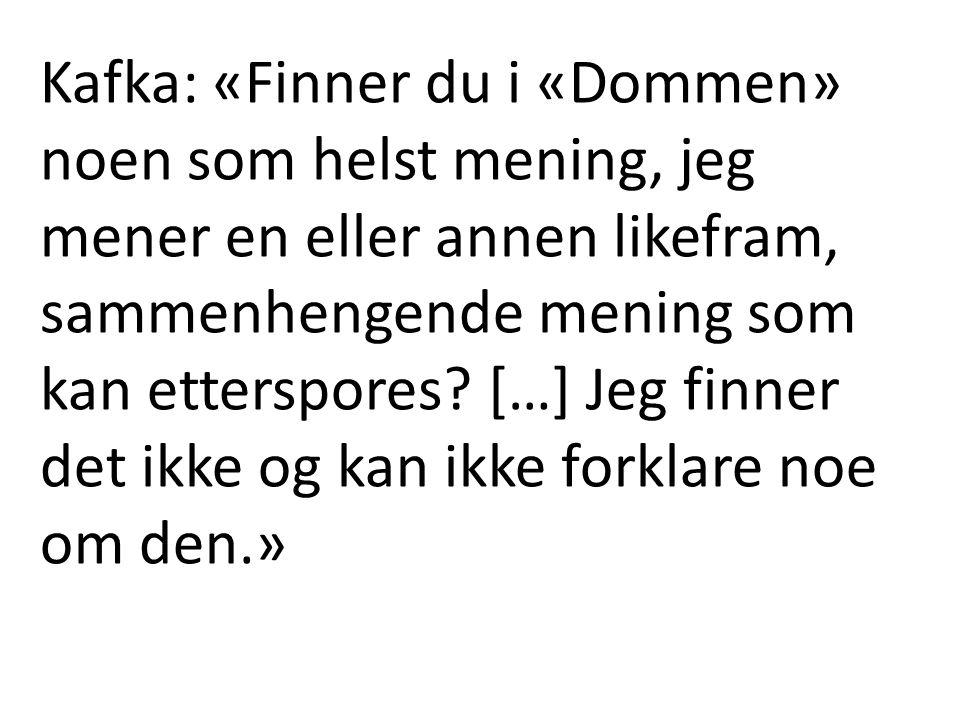 Kafka: «Finner du i «Dommen» noen som helst mening, jeg mener en eller annen likefram, sammenhengende mening som kan etterspores.