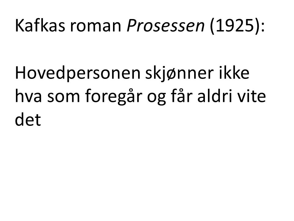 Kafkas roman Prosessen (1925):