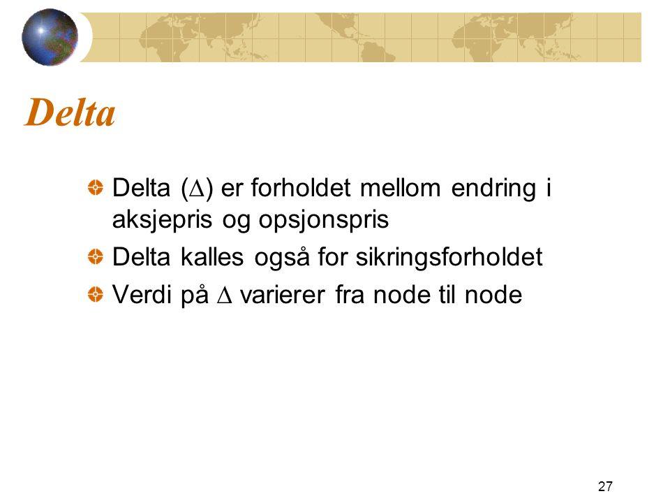 Delta Delta (D) er forholdet mellom endring i aksjepris og opsjonspris