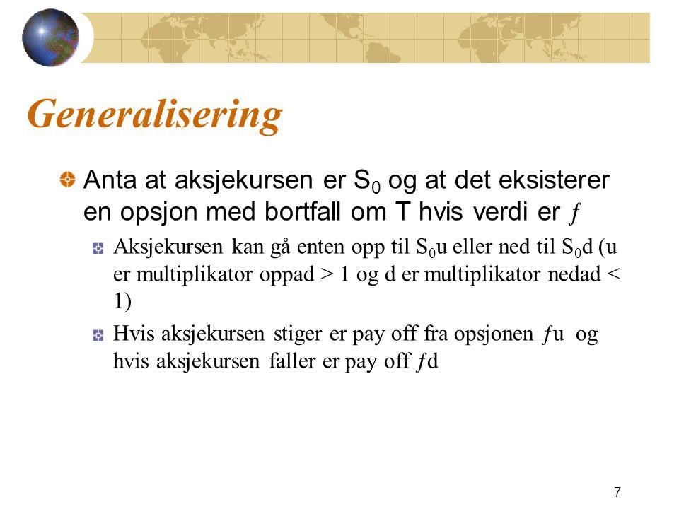 Generalisering Anta at aksjekursen er S0 og at det eksisterer en opsjon med bortfall om T hvis verdi er ƒ.