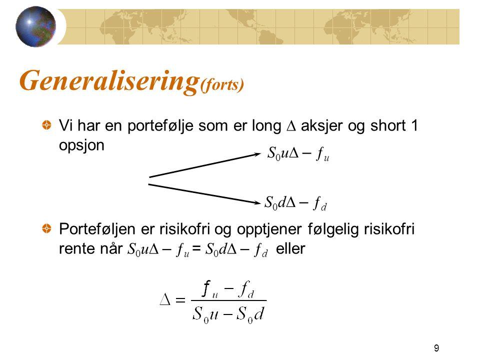 Generalisering(forts)