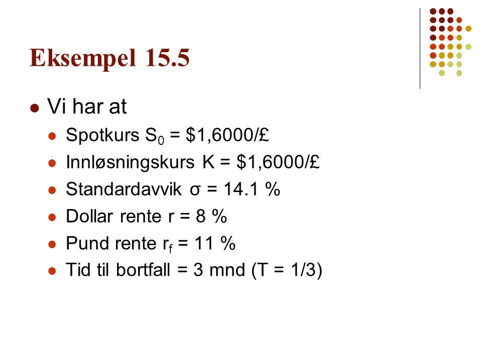 Eksempel 15.5 Vi har at Spotkurs S0 = $1,6000/£