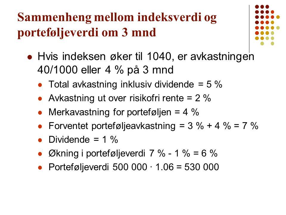 Sammenheng mellom indeksverdi og porteføljeverdi om 3 mnd