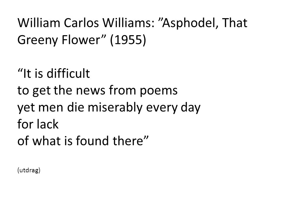 William Carlos Williams: Asphodel, That Greeny Flower (1955)