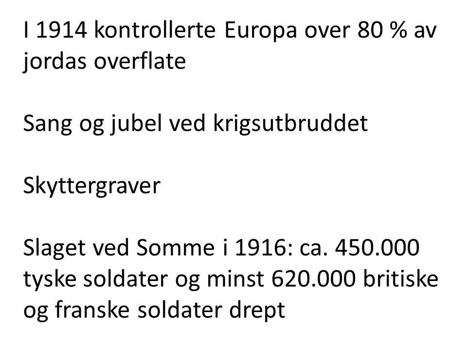 I 1914 kontrollerte Europa over 80 % av jordas overflate