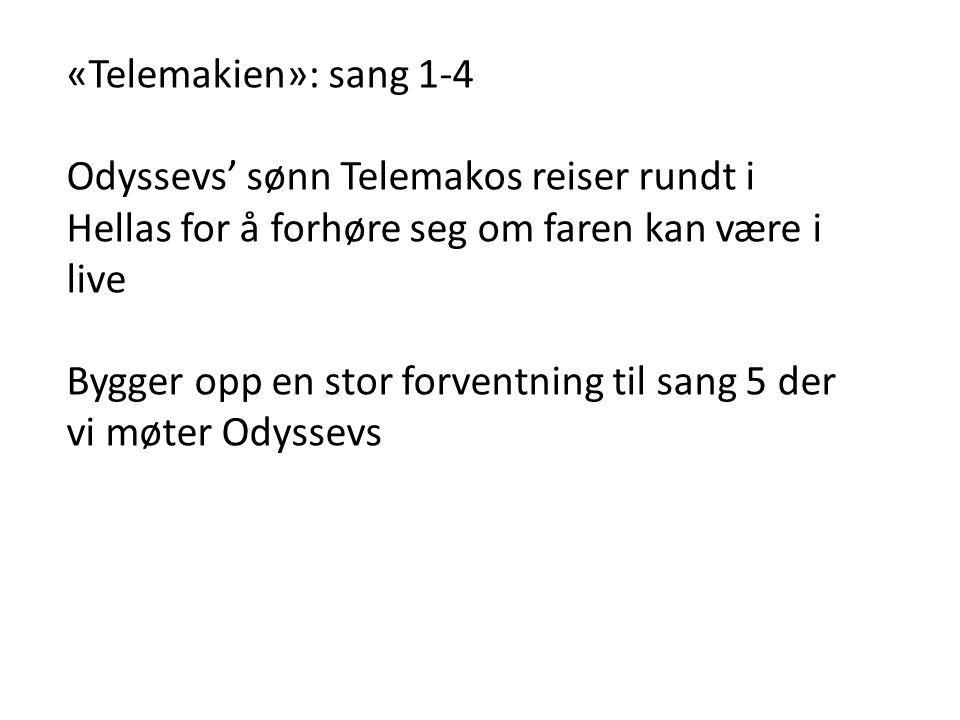 «Telemakien»: sang 1-4 Odyssevs' sønn Telemakos reiser rundt i Hellas for å forhøre seg om faren kan være i live.