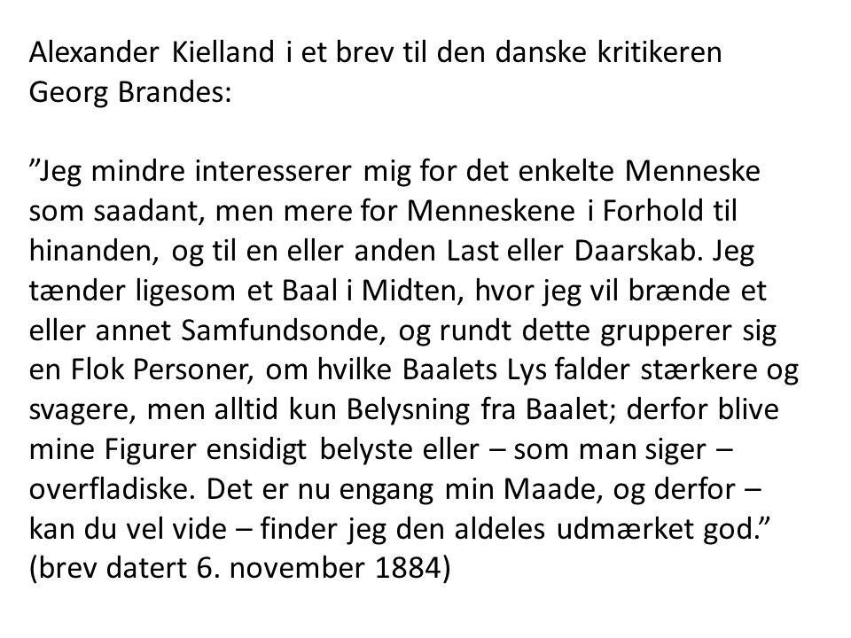 Alexander Kielland i et brev til den danske kritikeren Georg Brandes: