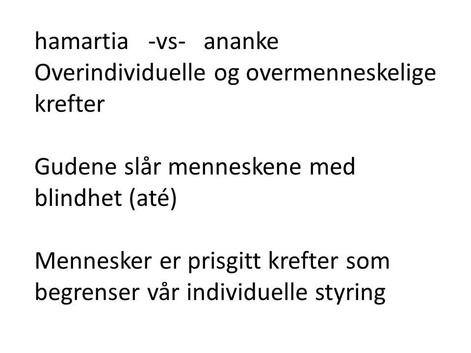 hamartia -vs- ananke Overindividuelle og overmenneskelige krefter. Gudene slår menneskene med blindhet (até)
