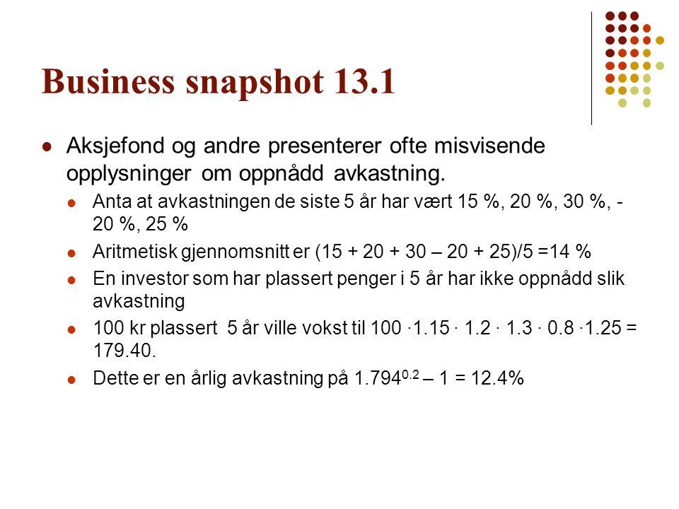 Business snapshot 13.1 Aksjefond og andre presenterer ofte misvisende opplysninger om oppnådd avkastning.