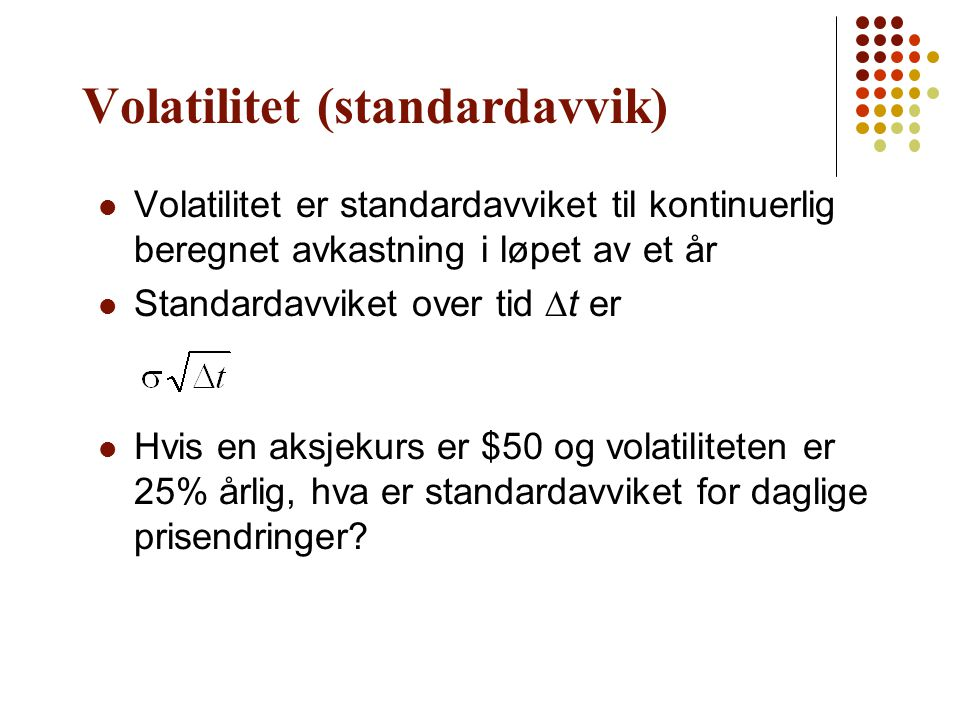 Volatilitet (standardavvik)