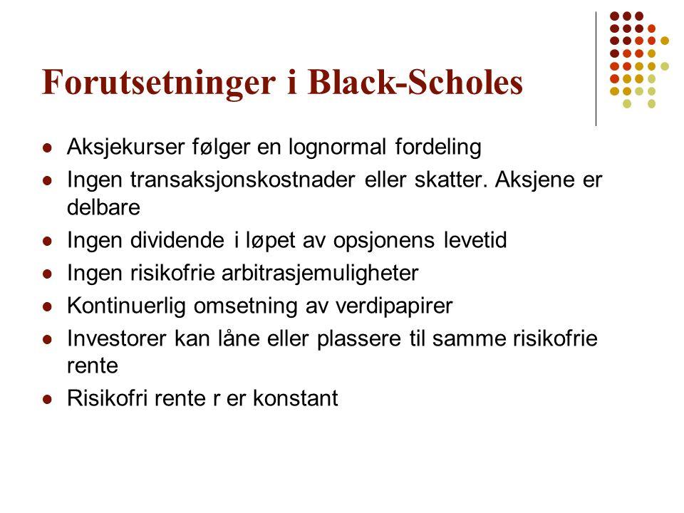 Forutsetninger i Black-Scholes