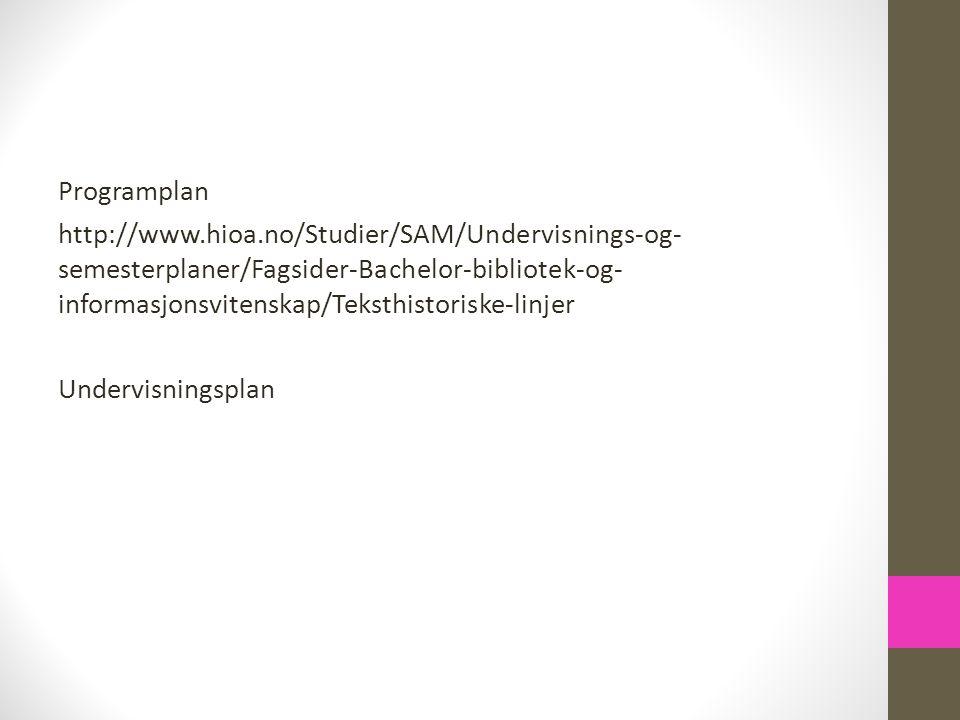 Programplan http://www. hioa