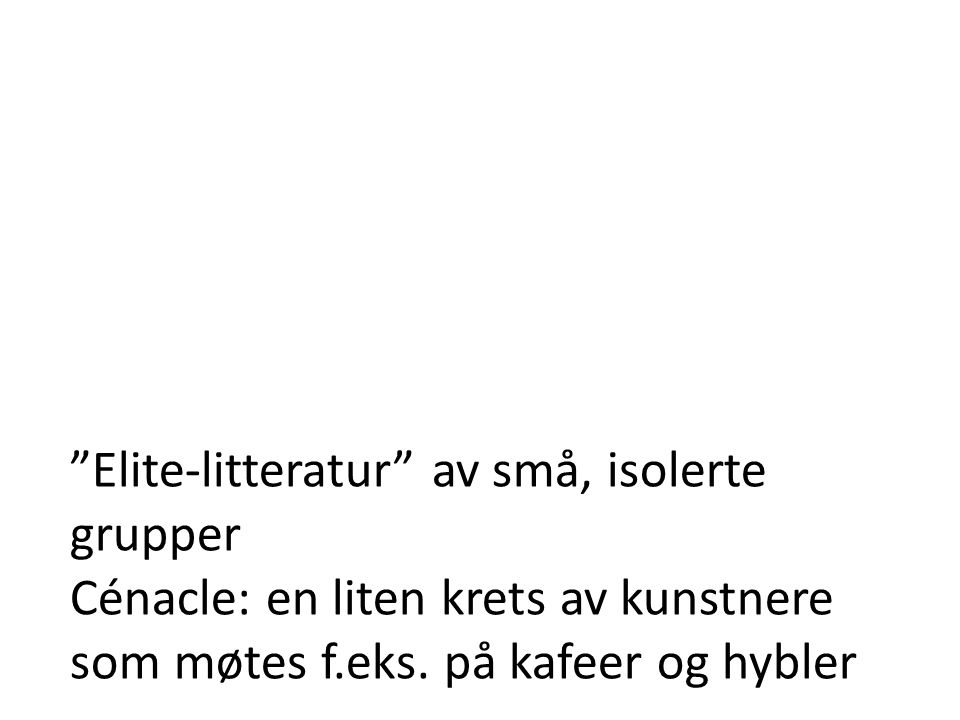 Elite-litteratur av små, isolerte grupper