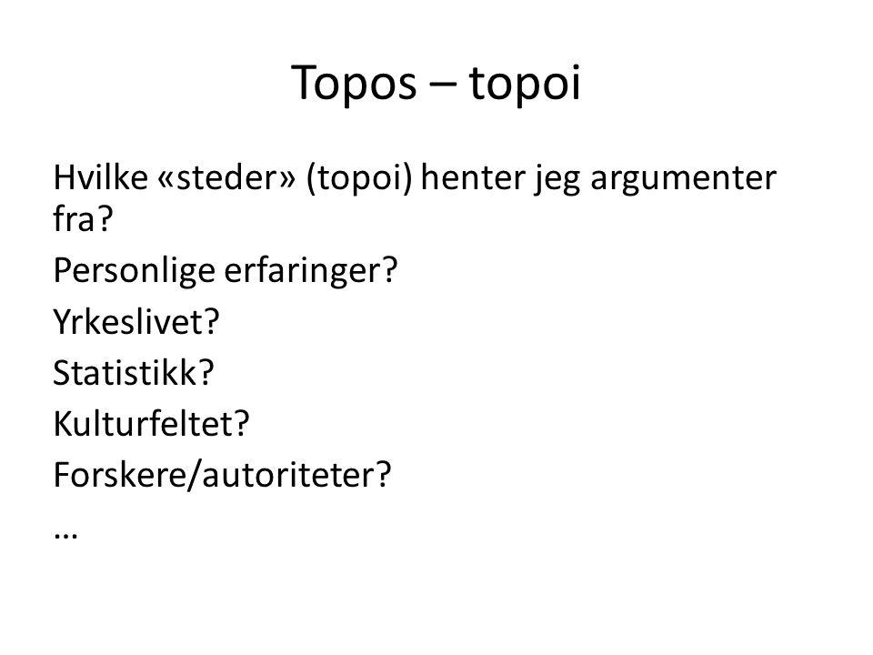 Topos – topoi Hvilke «steder» (topoi) henter jeg argumenter fra
