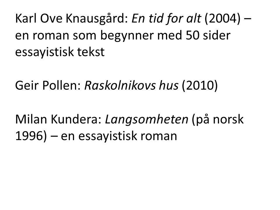 Karl Ove Knausgård: En tid for alt (2004) – en roman som begynner med 50 sider essayistisk tekst