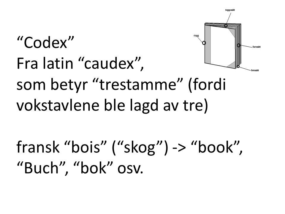 Codex Fra latin caudex , som betyr trestamme (fordi vokstavlene ble lagd av tre) fransk bois ( skog ) -> book , Buch , bok osv.