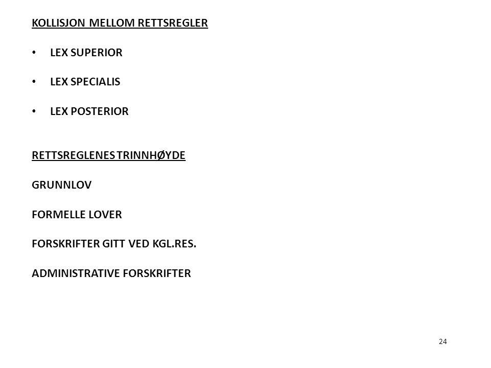 KOLLISJON MELLOM RETTSREGLER LEX SUPERIOR LEX SPECIALIS LEX POSTERIOR