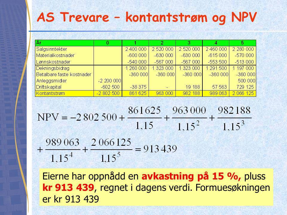 AS Trevare – kontantstrøm og NPV