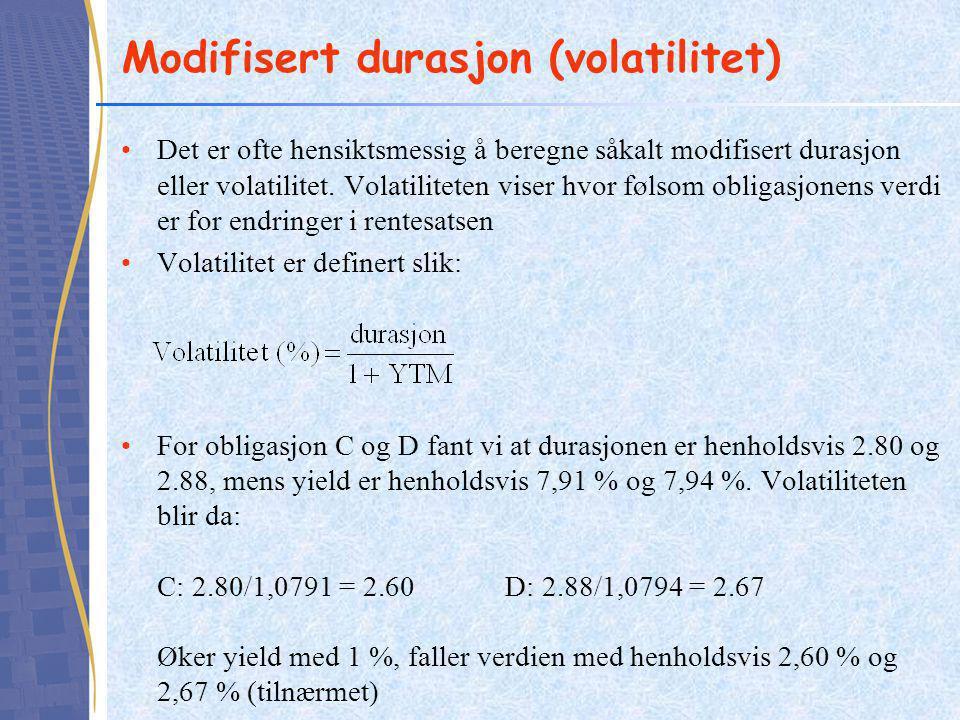 Modifisert durasjon (volatilitet)