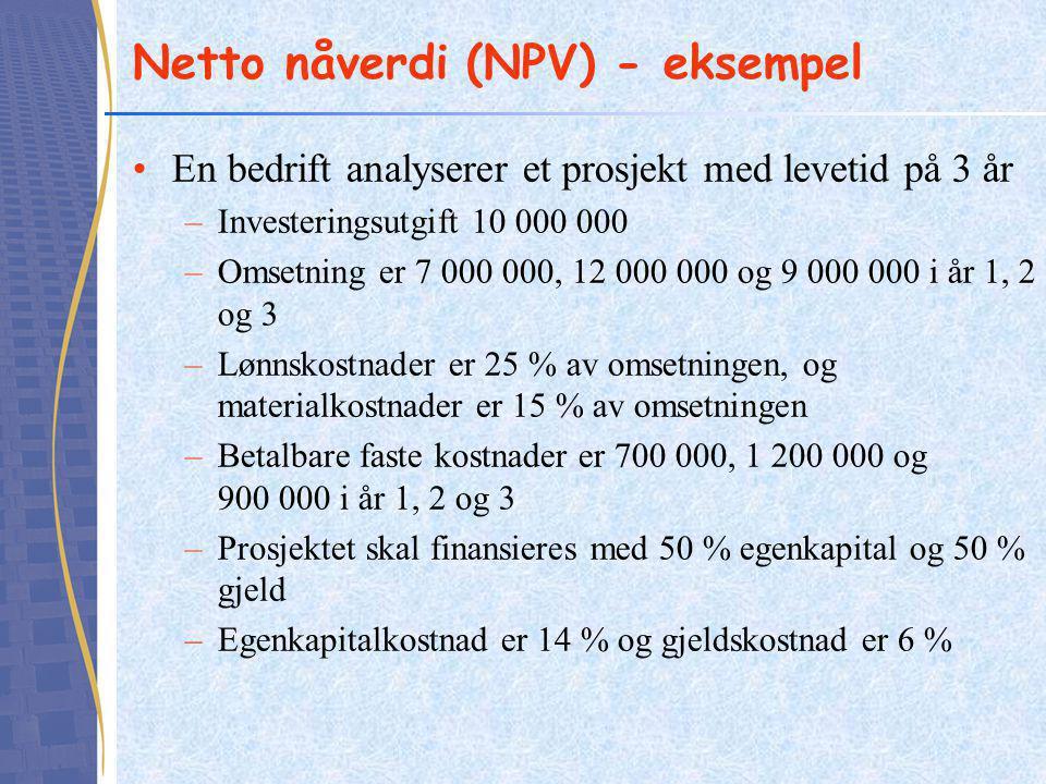 Netto nåverdi (NPV) - eksempel