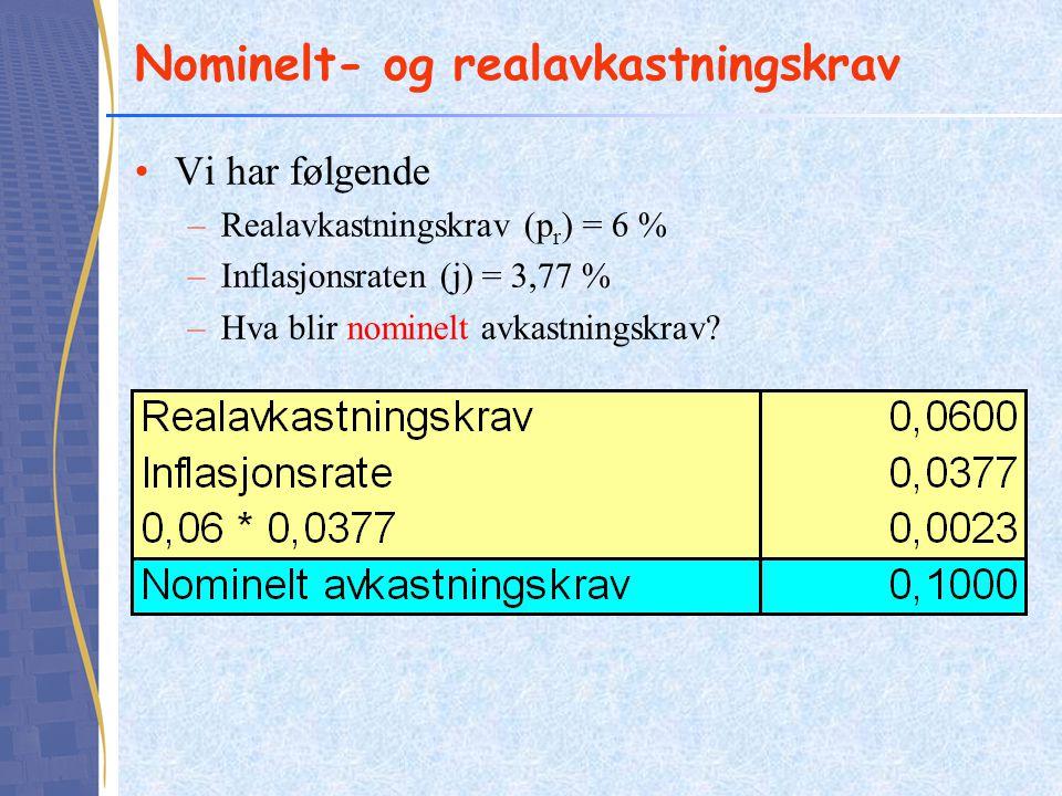 Nominelt- og realavkastningskrav