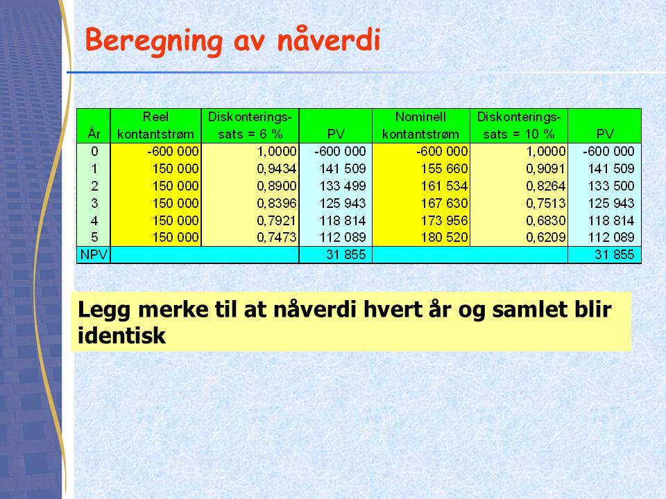 Beregning av nåverdi Legg merke til at nåverdi hvert år og samlet blir identisk